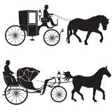 Carriage with horse. Hansom-cab set. Stock Photography