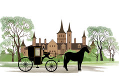 Carriage with horse over old city park background. Stock Photo