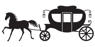 Carriage and horse. Silhouette image horse drawn carriage Stock Photography