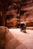 Carriage with horse in Siq - Petra. Unrecognizable bedouin drives carriage in canyon in Petra, Jordan stock photo