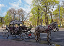 Carriage with horses in the background of the Admiralty building in St. Petersburg, Russia. Carriage with horses in the background of the Admiralty building in stock photography