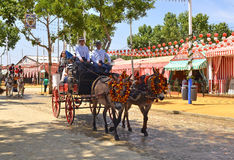 Carriage horses with coachman during Seville Spring Festival 201 Royalty Free Stock Photos