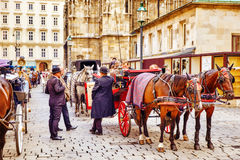 Carriage horses walking in the streets of one of the most beautiful European cities - Vienna.Austria Stock Photos