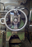 Carriage of lathe. With control wheel Stock Photos