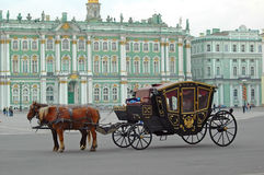 Carriage near the Hermitage in St. Petersburg Stock Images