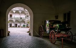 Carriage in old castle stock photos