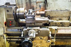 Carriage of old metal lathe machine Royalty Free Stock Images