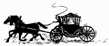 Carriage and pair. Black carriage and pair silhouette stock illustration