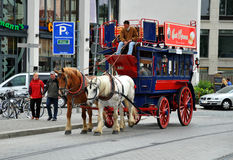 Carriage and pair journey in Dresden Royalty Free Stock Photo