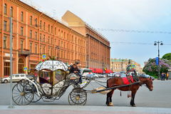 A carriage pulled by a horse on the background of the hotel buil. ST.PETERSBURG, RUSSIA - JUNI 14, 2017:  A carriage pulled by a horse on the background of the Royalty Free Stock Photo