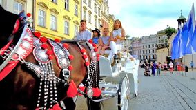 Carriage ride in Krakow, Poland stock footage