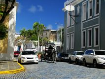 Carriage ride through the streets of San Juan. Puerto Rico stock image