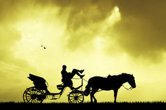 Carriage ride at sunset. Illustration of carriage ride at sunset Stock Photo