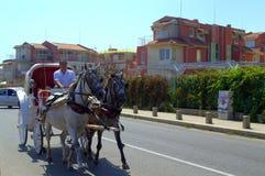 Carriage rides on street,Sozopol Bulgaria Royalty Free Stock Photo