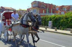 Carriage rides on street,Sozopol Bulgaria Stock Photos