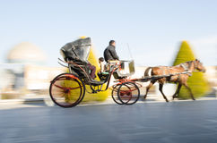 Carriage. Riding in historic Naqshejahan square of Isfahan, Iran Royalty Free Stock Image