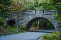 Carriage Road Bridge. A carriage road bridge in Acadia National Park in Maine stock images