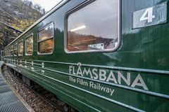 Carriage of the scenic Flamsbana train line. Flamsbana train carriage, the famous scenic train line in Norway going from Myrdal to Flam Royalty Free Stock Image