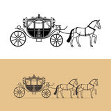 Carriage silhouette with horse Royalty Free Stock Image