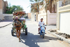 Carriage in street of Tozeur oasis Stock Image