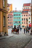 Carriage in the streets of Warsaw, Poland Stock Images