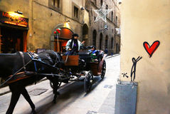 Carriage for tourists in Florence street Royalty Free Stock Images