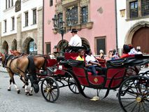 Carriage with tourists in Prague Stock Photography
