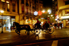 Carriage. In a town at night Royalty Free Stock Image