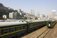 The carriage of a train. Chinese type train car parked in the Chongqing Railway Station Stock Photos
