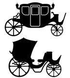 Carriage for transportation of people black outline silhouette v Stock Image