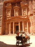 Carriage Treasury Petra Jordan. Horse Carriage, known as Bedouin Ferrari, and the Treasury, Petra, Jordan Stock Photography