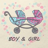 Carriage for twins. Boy and girl. Color card. Illustration in doodle and cartoon style. Vector. Eps 10 Stock Photography