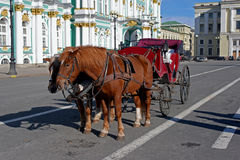 Carriage with two horses at Hermitage Royalty Free Stock Photography