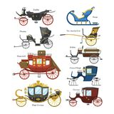 Carriage vector vintage transport with old wheels and antique transportation illustration set of royal coach and chariot. Or wagon for traveling isolated on royalty free illustration
