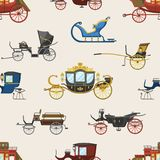 Carriage vector vintage transport with old wheels and antique transportation illustration set of royal coach and chariot. Or wagon for traveling seamless royalty free illustration