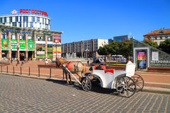 The carriage on Victory Square in Kaliningrad, a city landscape in the sunny summer day Stock Photos