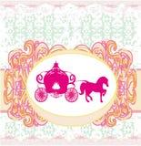 Carriage- vintage floral wedding invitation Stock Images