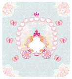 Carriage- vintage floral wedding invitation Stock Photos