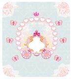Carriage- vintage floral wedding invitation Stock Photos