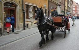 Carriage on Warsaw street Royalty Free Stock Photos