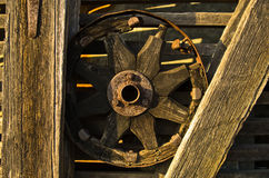Carriage wheel, decorative detail from an old barn near Danube river Stock Image