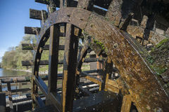 The carriage wheel of a water mill. On the Mura river, Slovenia Stock Photography