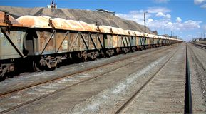 Ore train at Broken Hill. An ore train lined up for movement at Broken Hill Stock Image