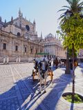 Carriages in front of the Cathedral of Seville, Spain Royalty Free Stock Photos