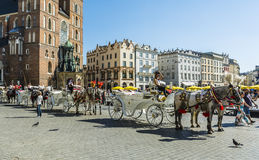 Carriages on the Main Market. Royalty Free Stock Photo