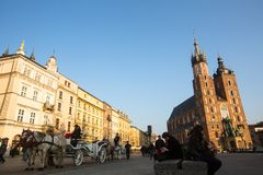 Carriages at Main Market Square. Stock Photos