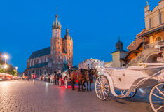 Carriages on The Main Market Square in Krakow Royalty Free Stock Photography