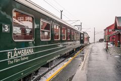Carriages of the scenic Flamsbana train line Stock Photos