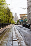 Carriageway of Pokrovsky Boulevard in Moscow Stock Photography