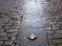 Carriageways of the camino de santiago. In his wake by burgos with the symbol of the shell, Spain Stock Images